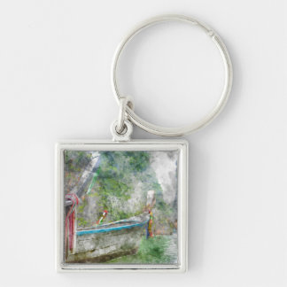 Traditional Long Boat in Thailand Silver-Colored Square Key Ring