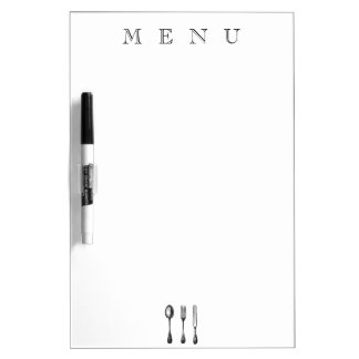 Traditional Menu or Grocery List With Silverware Dry Erase Board