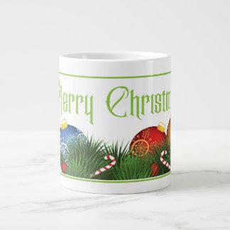 Traditional Merry Christmas Greeting with Ornament Giant Coffee Mug