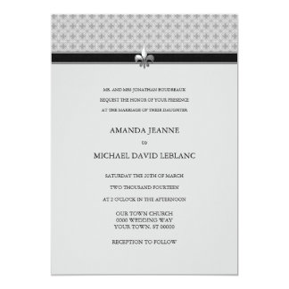 Traditional Modern Fleur de Lis Pattern Wedding Card