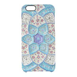 Traditional Moroccan turquoise Blue, white, salmon Clear iPhone 6/6S Case