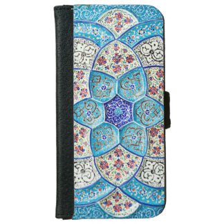 Traditional Moroccan turquoise Blue, white, salmon iPhone 6 Wallet Case