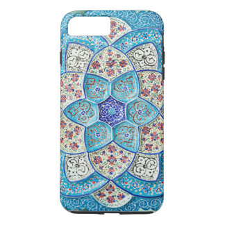 Traditional Moroccan turquoise Blue, white, salmon iPhone 8 Plus/7 Plus Case
