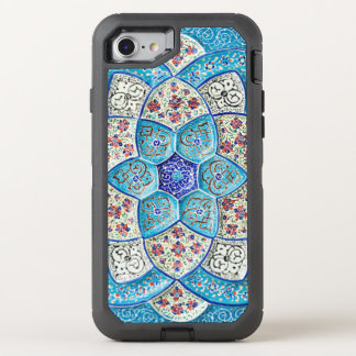 Traditional Moroccan turquoise Blue, white, salmon OtterBox Defender iPhone 8/7 Case