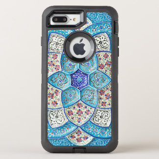 Traditional Moroccan turquoise Blue, white, salmon OtterBox Defender iPhone 8 Plus/7 Plus Case