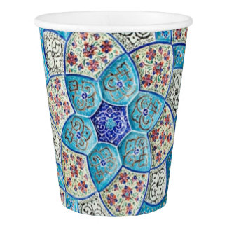 Traditional Moroccan turquoise Blue, white, salmon Paper Cup