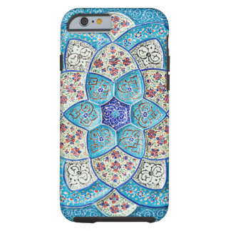 Traditional Moroccan turquoise Blue, white, salmon Tough iPhone 6 Case