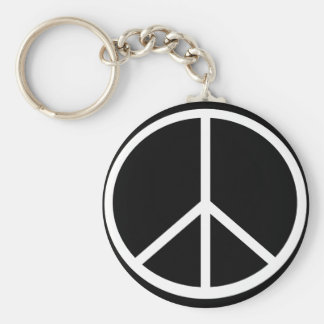 Traditional peace symbol key chain