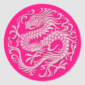 Traditional Pink Chinese Dragon Circle Round Sticker