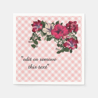 Traditional Pink Gingham with flowers Disposable Napkin