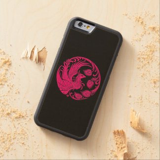 Traditional Pink Phoenix Circle on Black Carved Maple iPhone 6 Bumper Case