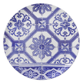 Traditional Portuguese blue tiles design Party Plate