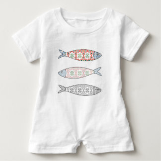 Traditional Portuguese icon. Colored sardines Baby Bodysuit