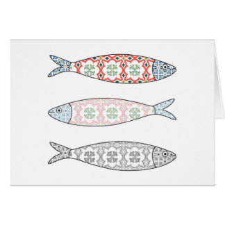 Traditional Portuguese icon. Colored sardines Card