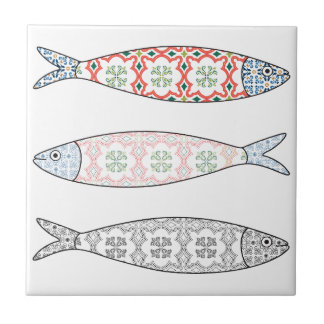 Traditional Portuguese icon. Colored sardines Tile