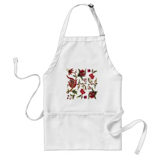 Traditional Queen Anne Jacobean Embroidery Aprons