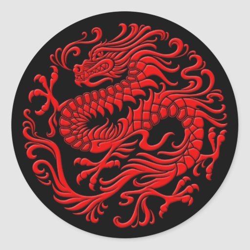 Traditional Red and Black Chinese Dragon Circle Sticker