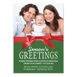 Traditional Red and Green Christmas Photo 11 Cm X 16 Cm Invitation Card