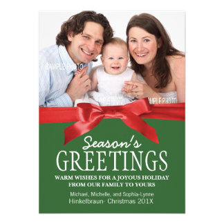 Traditional Red and Green Christmas Photo Announcements