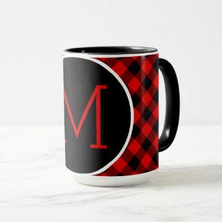 Traditional Red Black Buffalo Check Plaid Pattern Mug