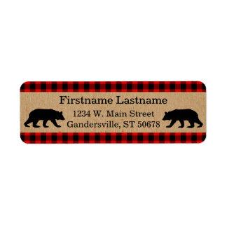 Traditional Red Black Buffalo Check Plaid Pattern Return Address Label