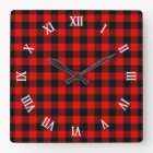 Traditional Red Black Buffalo Check Plaid Pattern Square Wall Clock