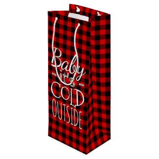 Traditional Red Black Buffalo Check Plaid Pattern Wine Gift Bag