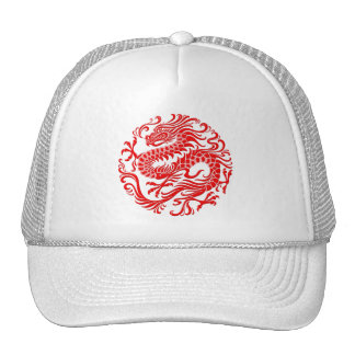 Traditional Red Chinese Dragon Circle Hat