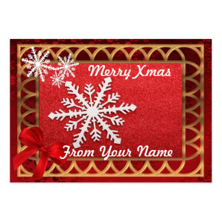 Traditional red & gold personalized Christmas tag Large Business Cards (Pack Of 100)
