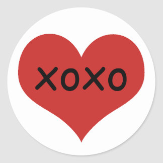 Traditional red heart | xoxo classic round sticker