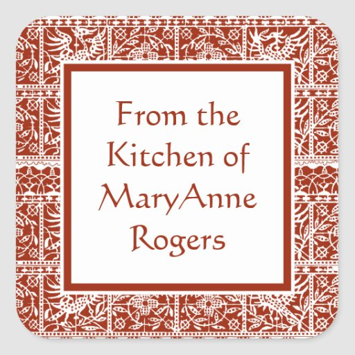 Traditional Red Lace Canning Jar Food Labels Square Sticker