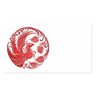 Traditional Red Phoenix Circle on Red Business Card Template
