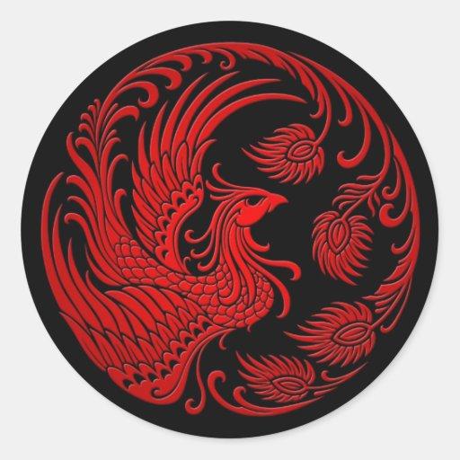 Traditional Red Phoenix Circle Round Sticker