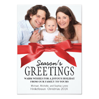 Traditional Red Satin Ribbon Christmas Photo 11 Cm X 16 Cm Invitation Card
