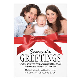 Traditional Red Satin Ribbon Christmas Photo Announcements