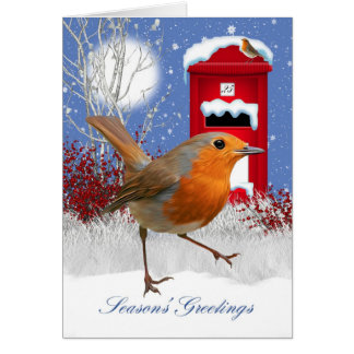 Traditional Robin And Mail Box Winter Greeting Greeting Card
