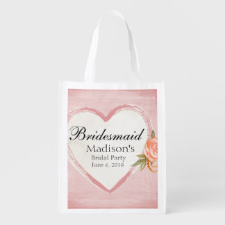 Traditional & Romantic Pink Heart Bridesmaid Reusable Grocery Bag
