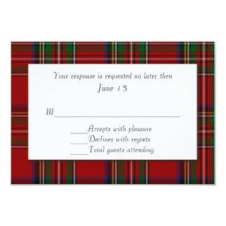 Traditional Royal Stewart Plaid Wedding RSVP Card