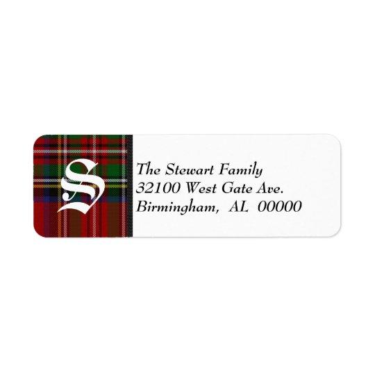 Traditional Royal Stewart Tartan Plaid Monogram Return Address Label