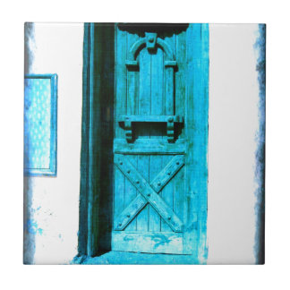 Traditional Rustic Blue Door Santorini GREECE Small Square Tile