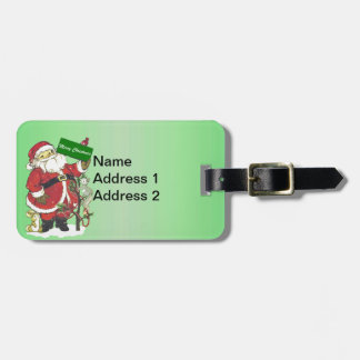 Traditional Santa Holding Sign Tree Cute Animals Luggage Tag