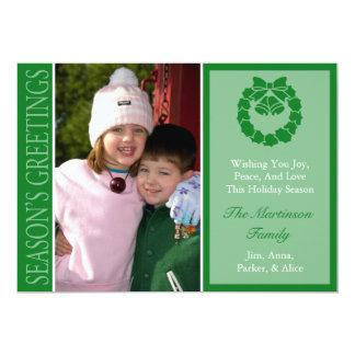 Traditional Season's Greetings Wreath Card (Green) 13 Cm X 18 Cm Invitation Card