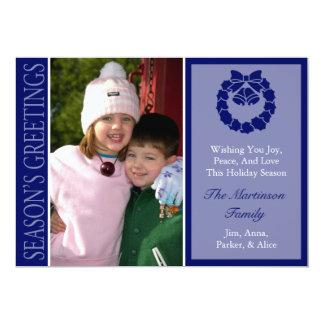 Traditional Season's Greetings Wreath Card (Navy) 13 Cm X 18 Cm Invitation Card
