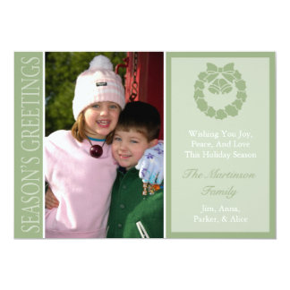 Traditional Season's Greetings Wreath Card (Sage) 13 Cm X 18 Cm Invitation Card