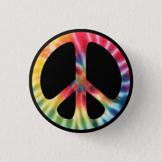 Traditional Sixties Peace Symbol with Tie-Dye 3 Cm Round Badge