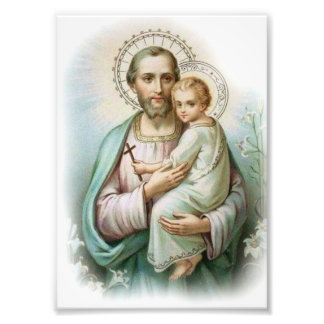 Traditional St. Joseph & Child Jesus with Cross Photo Print