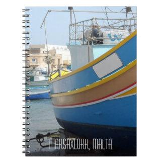 Traditional Striped Fishing Boat Marsaxlokk Malta Notebooks