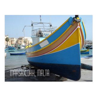 Traditional Striped Fishing Boat Marsaxlokk Malta Postcard