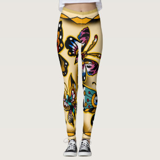 Traditional style butterfly tattoo flash leggings