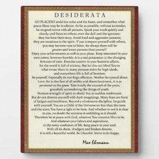 Traditional Style Desiderata Poem by Max Ehrmann Plaque